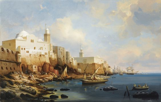'The port of Algiers, with the Jamaa Al-Jd and Jemaa Kebir mosques',Niels Simonsen (Danish),1807-1885